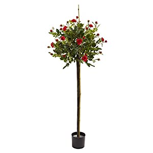 Nearly Natural 3ft. Rose Topiary Silk Trees Red