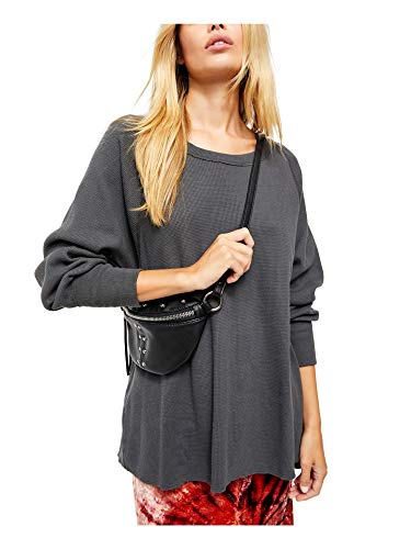We The Free Womens Amelia Cotton Waffle Knit Thermal Top Black L