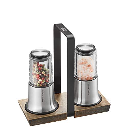 GEFU Salz- und Pfeffermühlen-Set X-PLOSION, 2er Set mit Menage, Mühlen mit Keramikmahlwerk, Holzuntersetzer, schwarz/silber