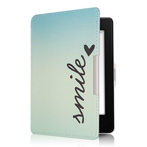 kwmobile Hülle kompatibel mit Amazon Kindle Paperwhite - Kunstleder eReader Schutzhülle Cover Case (für Modelle bis 2017) - Smile Blau Türkis