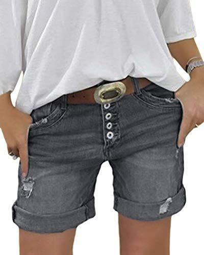 Minetom Damen Sommerhose Lässig Jeans Hose Kurze Denim Hosen Slim Fit Stretch Jeansshorts Shorts Bermuda mit Knopfleiste C Grau X-Large