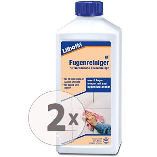 Lithofin KF Fugenreiniger 1 l - sehr ergiebig - intensiv wirkend - mildalkalisch - Reiniger für Fugen in Küche & Bad