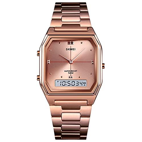 YQCH Reloj Digital analógico Ultrafino 5ATM Alarma LED a Prueba de Agua 3 Visualización de la Hora Relojes de Pulsera para Hombres Mujeres con Banda de Acero Inoxidable (Color : Rose Gold)
