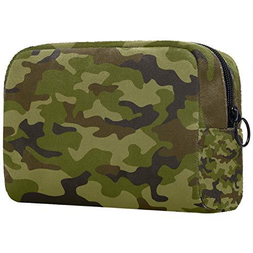 KAMEARI Bolsa de cosméticos de camuflaje verde patrón grande bolsa de cosméticos organizador multifuncional bolsas de viaje