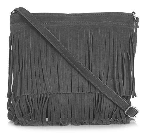 LIATALIA Womens Fringe Handbag - Real Italian Suede Leather - Tassle Effect Shoulder Bag - Cross-Body Messenger Bag (Large Size) - ASHLEY [Dark Grey]