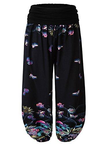 BAISHENGGT Damen Pumphose Haremshose Blumenmuster Lange Hose Blau-Schmetterling XL