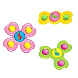 XULIANSEN 3Pcs Suction Cup Baby Toys, Suction Cup Spinning Top Toy, Baby Child Spinning Tops Toy, Animal Windmill Toys Spin Suction Toy for Kids (A-3PCS-Dinosaur)