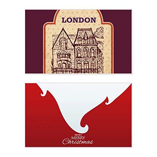 Bouwen Schets UK Londen Stempel Vakantie Vrolijk Kerstkaart Xmas Vintage Bericht