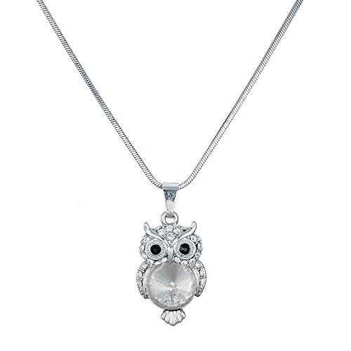 Ouran Collar Largo para Mujer, Lindo Collar Colgante de búho para niñas, Oro Rosa y Collar de Plata con Cristal (Plateado)