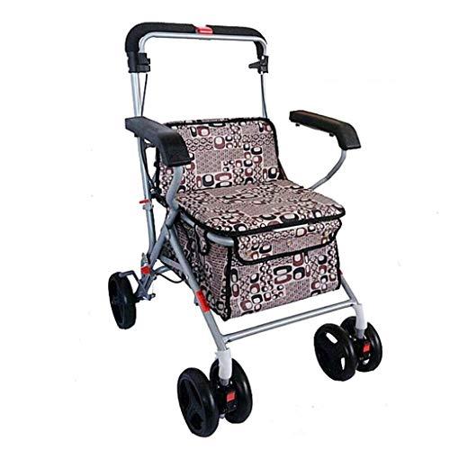 PNYGJZXQ Draagbare Rolling Walkers Winkelwagen Oude Man Trolley Opvouwbare Rolstoel met Stoel Thuis Kruidenier Winkelwagen Dubbele Remmen Mobility Aid voor Ouderen & Handicap