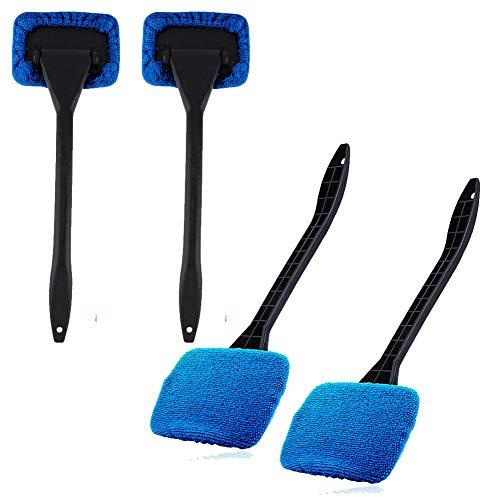 XYDZ Spazzola per la Pulizia del Vetro dell auto, 4PCS Spazzola per la Pulizia del Parabrezza per Pulizia Auto in Microfibra con Manico Lungo