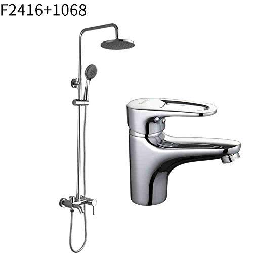 RSZHHL Wasserhahn Heißer Verkauf Bad Wasserhahn Kombination Badewanne Dusche Wasserhahn Mit Waschtischarmatur Kalt-und Warmwassermischer F2416 F1068