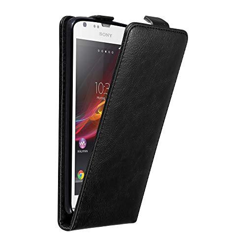 Cadorabo Custodia per Sony Xperia SP in Nero di Notte - Protezione in Stile Flip con Chiusura Magnetica - Case Cover Wallet Book Etui