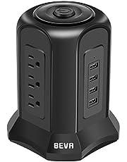 BEVA タワー型電源タップ 小型 縦コンセント 9個AC口(100-125V)+4個USBポート(最大4.5A/5V)雷ガード 過負荷保護 省エネ 延長コード2m オフィス/家庭給電用 たこ足配線 テーブルタップ