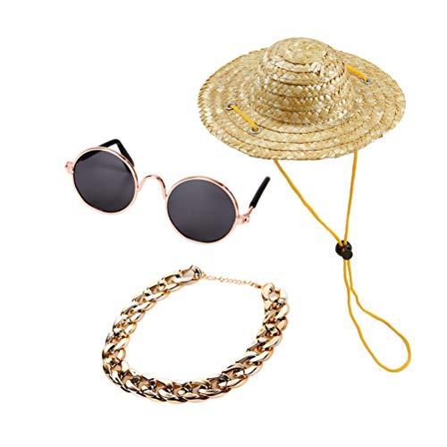 POPETPOP 3 stücke Mode Haustier Hund Katze Retro Strohhut Sommer Haustier Kostüm Cap Fancy Ornament (Sonnenbrille, Retro Strohhut, Hund Gold Halskette)
