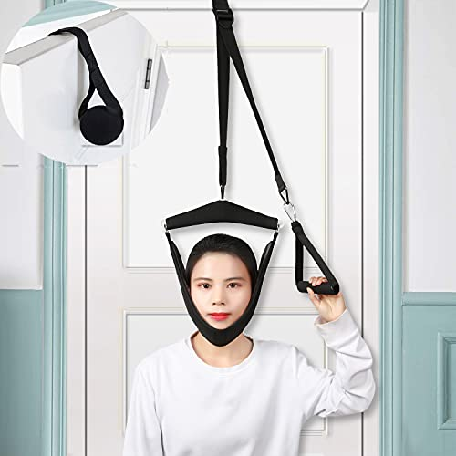 Cervical Neck Traction Device, Neck Stretcher Over The Door for Neck Pain Relief, Portable Neck Hammock Home Physical Therapy for Helps Arthritis, Spinal Decompression and Disc Bulges(Black)
