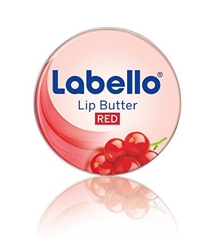Labello Lip Butter Berry Red Lippenbalsam, zart schmelzende Lippenbutter mit Johannisbeeren-Aroma zur intensiven Lippenpflege, 4er Pack (4 x 16,7 g)