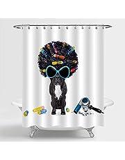Assanu アフロブラックヘアの美容院で茶色の犬動物愛好家のバスルームポリエステル生地のガラスとシャワーカーテン、防水機洗えるフック付属のバスルームアクセサリー72 x 72ブラック