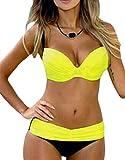 EVALESS Womens High Waisted Swimsuits Push Up Two Piece Bikini Candy Patch Padded Swimwear Yellow Medium 8 10