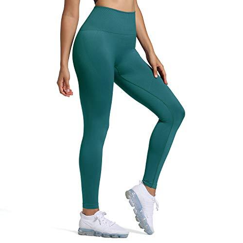 Aoxjox Women's Leggings High Waist Gym Seamless Leggings (Forest Green, Small)