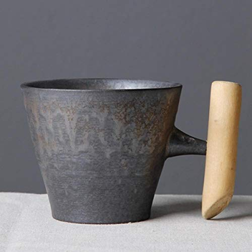HAOSHA 300Ml Raue Keramik Kaffeetasse Becher Anti-Rost-Glasur Mit Holzgriff Home Office Supplies, Lila, 201-300Ml