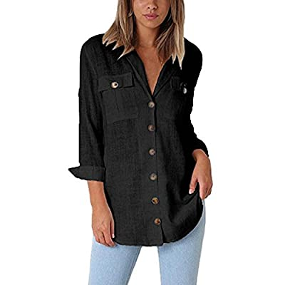 QueenMMWomen Casual Cuffed Sleeve Button Down Shirts Blouse Loose Tops