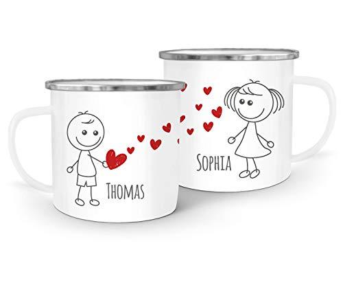 SpecialMe® Emaille-Tasse mit Namen Liebes-Paar Strichmännchen Liebesgeschenke personalisierbare Geschenke (1 Tasse) weiß-metall Emailletasse