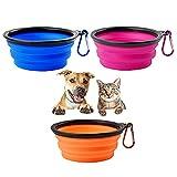 3 Piezas Cuencos Plegables, Comedero de Silicona para Mascotas, Plato de Viaje Plegable,380ML con Mosquetón de Viaje para Comida de Mascotas y Alimentación de Agua (Azul + Naranja + Morado)