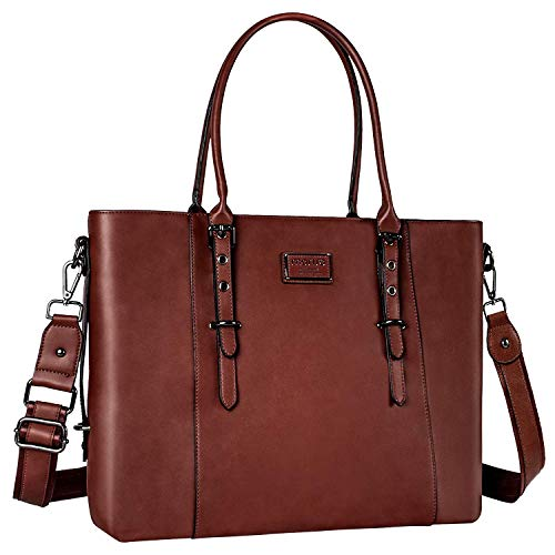 MOSISO PU Leather Laptop Tote Bag for Women (17-17.3 inch), Brown