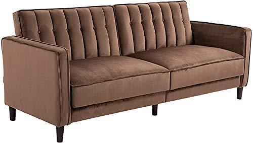 Sofá cama de tres asientos, almohadilla suave con almohadilla gruesa, función de sueño, barandilla de madera, peluquería, 205 x 98 x 98 cm,Brown
