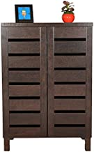 DeckUp Engineered Wood 2 Door Shoe Rack (Dark Wenge, Matte Finish, Standard Size)