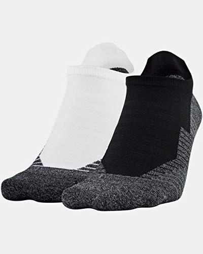 Under Armour Unisex UA Run No Show Tab 2-Pack Socks LG White