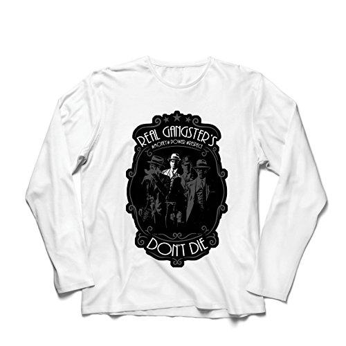 lepni.me Herren T Shirts Echte Gangster sterben nie - Italienisch - Sizilianische Mafia-Zitate - Der Pate - Cosa Nostra (Large Weiß Mehrfarben)