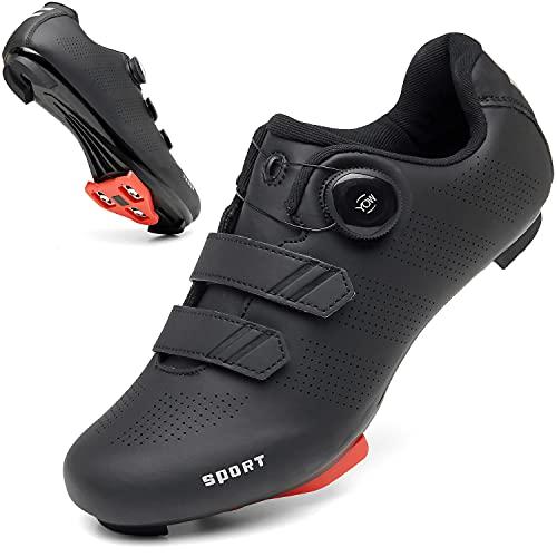 Zapatos de ciclismo para hombres y mujeres Luminosos Road Ciclismo Equitación Zapatos Peloton Zapatos Transpirables Cleat Compatible SPD Look Delta Zapatos de Ciclismo de Interior, Black218, 36 2/3 EU