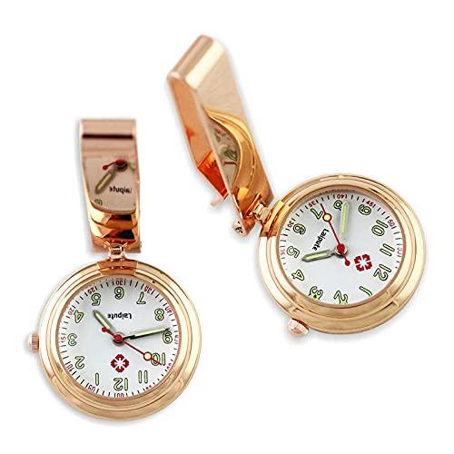 YYMY Unisexo Reloj de Bolsillo Enfermera,Pecho de Enfermera de Noche de Color con Clip, Hangar de Bolsillo médico Creativo en ángulo Recto-Oro Rosa 1