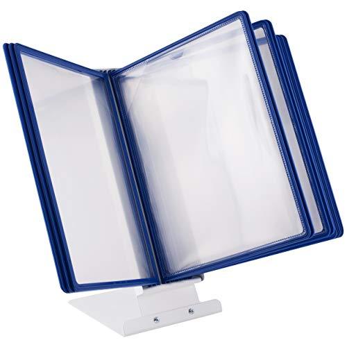 LEVIATAN Table Pupitre Métallique de Table | 10 pochettes A4 bleu| pour Consultation et Présentation Documents