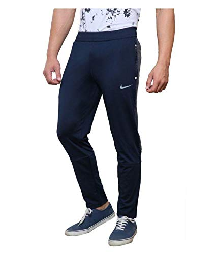 Men's Slim Fit Track Pants with Pockets (F_90_TP7_ Black,Navy)