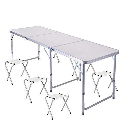 lillimasy Mesa de camping plegable [180 x 60 cm] mesa de trabajo / cocina multifuncional para picnic y fiesta con 6 sillas