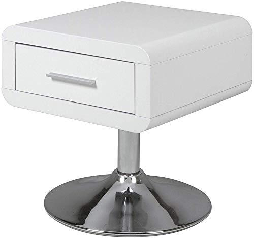 Amazon Brand - Movian Emme - Mesita de noche, 40 x 40 x 45 cm (largo x ancho x alto), blanco brillante