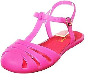 shoewhatever Women's Elegant Summer Style Glitter Jelly Flat Sandals