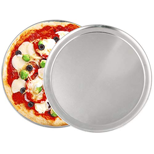 2 Pack Pizza Baking Pan Pizza Tray -13 Inch Aluminum Pizza Pan Round Pizza Baking Sheet Oven Tray, Nonstick & Healthy Bakeware for Oven Baking