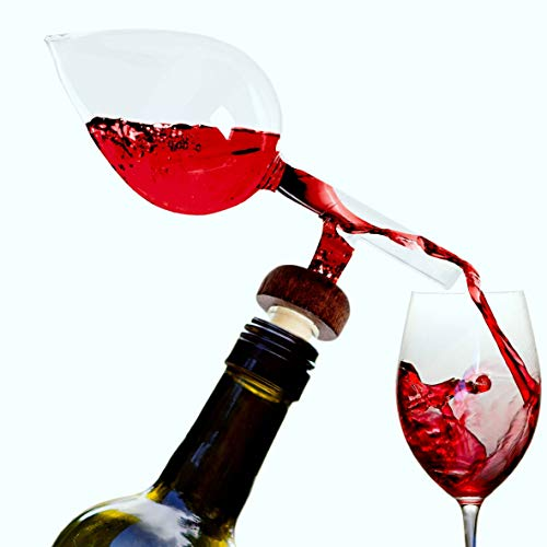 Wine Aerator And Decanter, Hand Blown Borocilicate Glass Wine Aerator on the bottle Aerator for Wine, Whiskey and Spirits 2x5 Inches Transform Your Wine Experience By The Wine Savant