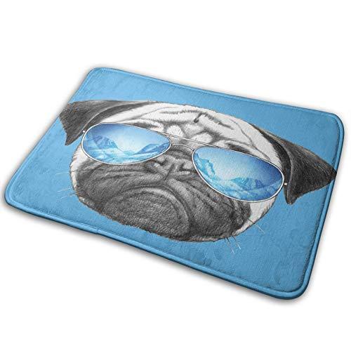 CVSANALA Antideslizante Suave Alfombra de Baño,Retrato de Pug con Gafas de Sol,Micro Personalizado Decoración del Hogar Baño Alfombra de Piso,75 x 45 CM