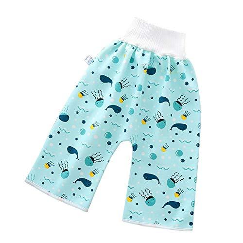 WMYZSHDWZ 2020 Nuevos Pantalones Cortos Cómodos con Falda De Pañal para Niños 2 En 1 Pantalones De Dibujos Animados Impermeables a Prueba De Fugas Pantalones De Bebé Reutilizables (Blue, Large)