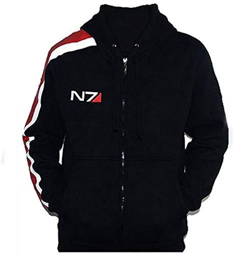 UGFashions Men's N7 Costume Hoodie Bomber Jacket Commander Shepard Effect Black Summer Fleece Jacket