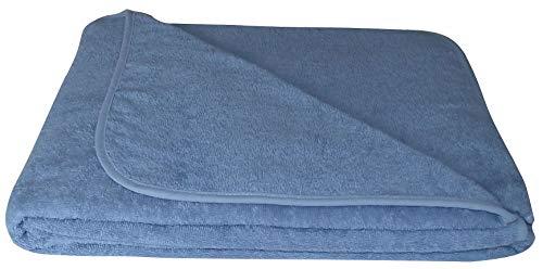 KiGATEX Frotteedecke Sommerdecke softig weich 100% Baumwolle 150x200 cm Öko-Tex Zertifiziert (blau)