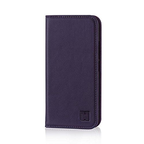 32nd Klassische Series - Lederhülle Hülle Cover für Motorola Moto G5S Plus, Echtleder Hülle Entwurf gemacht Mit Kartensteckplatz, Magnetisch & Standfuß - Aubergine