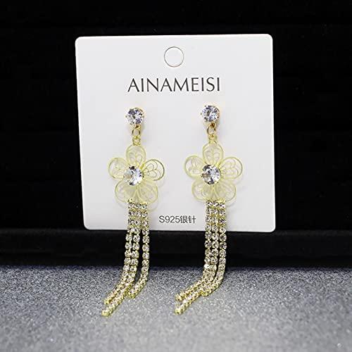 CXWK Pendientes Coreanos Pendientes de Borla de Perlas de Cristal Colgante geométrico Joyería de Boda para Novia Pendientes de Regalo para Mujer