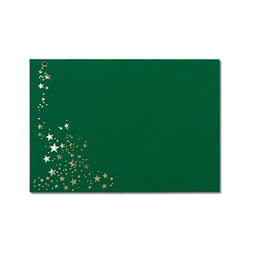 50x Weihnachts-Briefumschläge - DIN B6 - mit Silber-Metallic geprägtem Sternenregen -Farbe: dunkelgrün, Nassklebung, 110 g/m² - 120 x 176 mm - Marke: Gustav NEUSER®