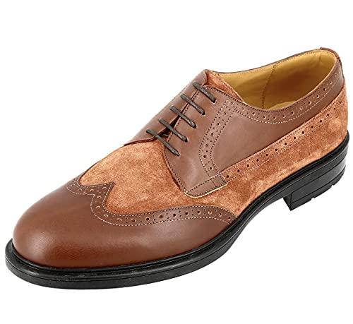 Belym Derby - Zapatos para hombre de piel lisa varier con gamuza, Marrón (marrón), 40 EU